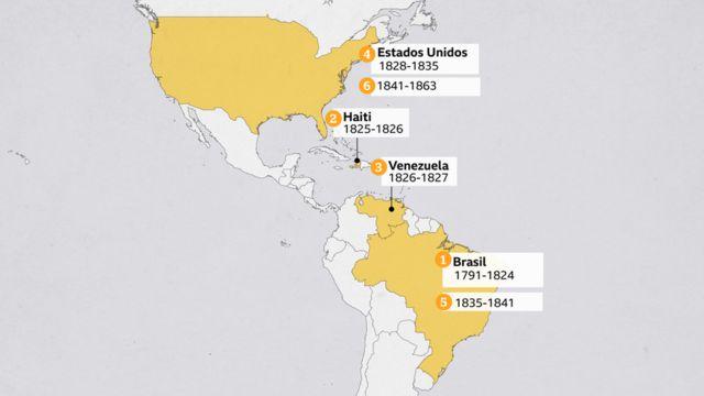 Mapa mostra onde e quando Mundrucu viveu ao longo da vida (1791 a 1863)