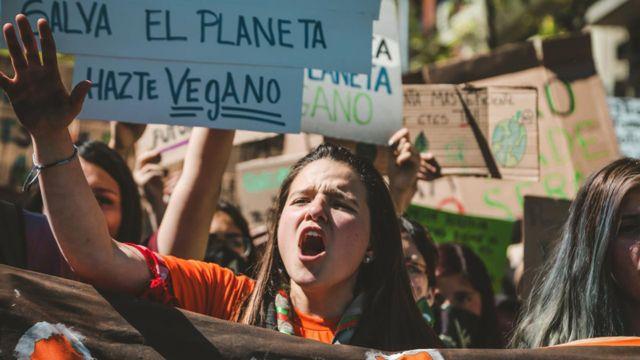 Dominga Espiñeira durante una protesta