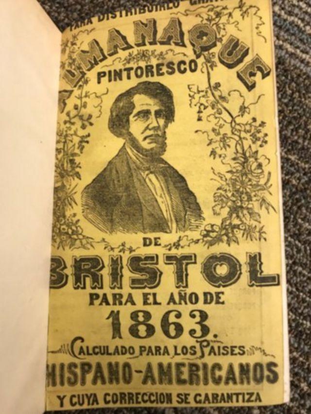 Edición de 1863 del Almanaque de Bristol en español (Foto: Daisy Villegas-Daniel)