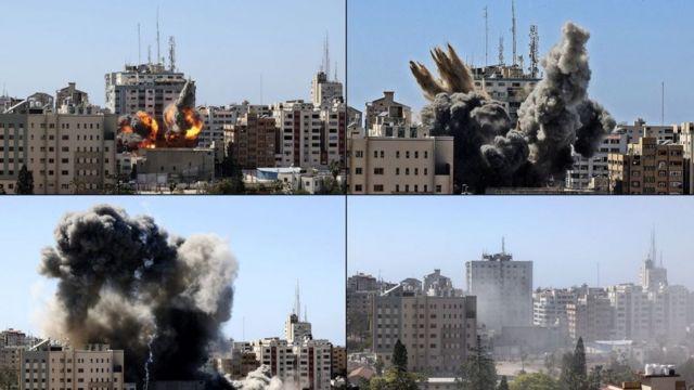 İsrail'in hava saldırılarında basın kuruluşlarının olduğu bina yıkıldı.