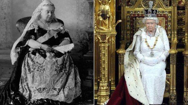 Queen Victoria and Queen Elizabeth II