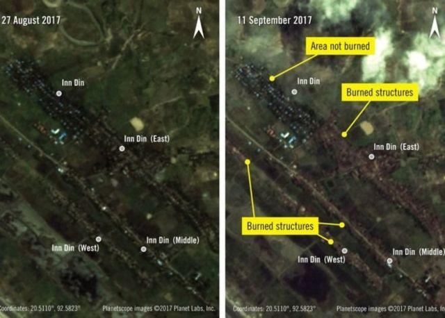 ภาพถ่ายดาวเทียมแสดงให้เห็นสภาพก่อนและหลังการเผาหมู่บ้าน