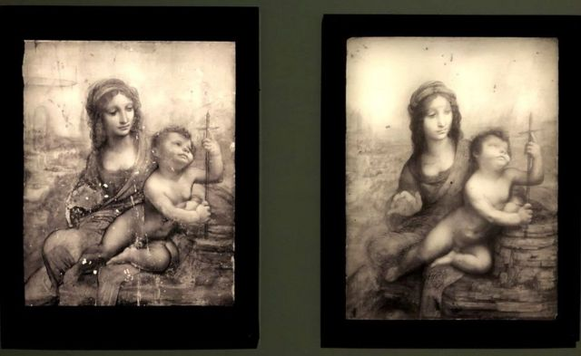 Different iterations of Leonardo's The virgin has the child show layers within the drawings as the artist makes progress