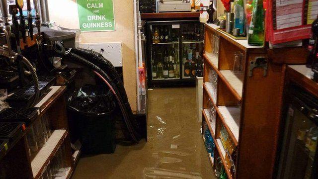 Flood water behind the bar at the Union Inn