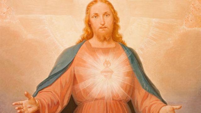 Pintura de Jesus do século 19 em Turim, Itália.