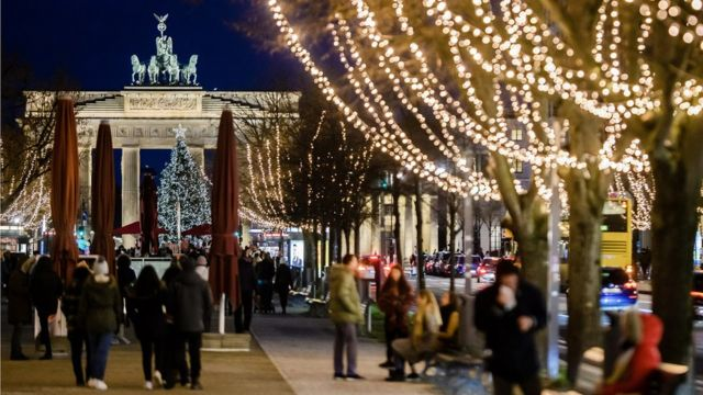 Christmas lights near the Brandenburg Gate, Berlin