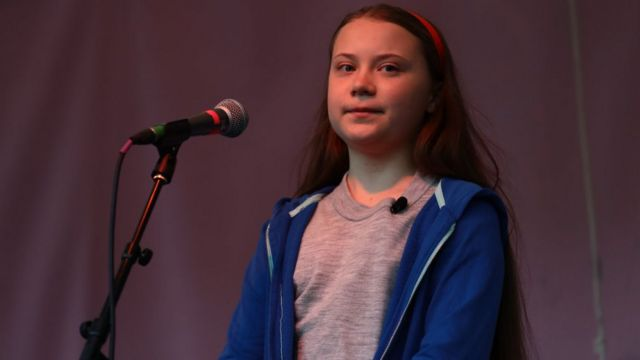 Greta Thunberg speaks to protesters gathered at Marble Arch as the Extinction Rebellion protests in London