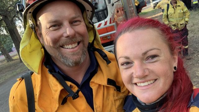 Lucy Baranowski (right) with another firefighter at Karrajong Heights station on Saturday
