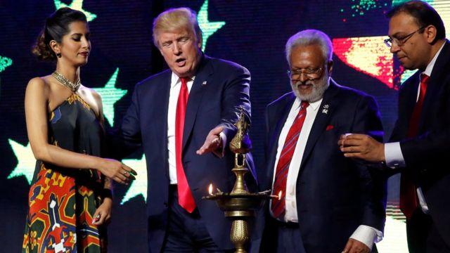 न्यू जर्सी में रिपब्लिकन हिंदू कोलिशन के कार्यक्रम में पहुंचे डोनल्ड ट्रंप.