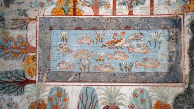 رسوم مصرية قديمة لمقومات البيئة النهرية للنيل