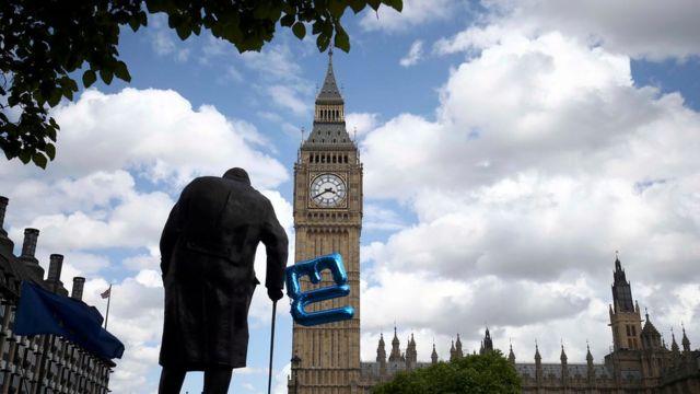 Estatua de Winston Churchill frente al Parlamento.