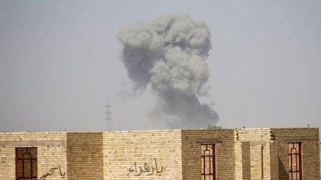 Smoke billows near Falluja
