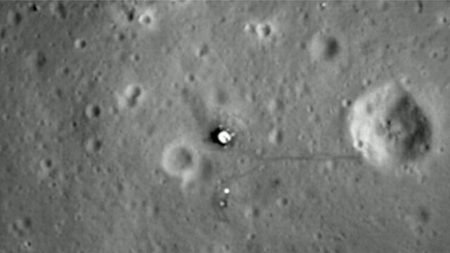 달 표면에 남은 아폴로 11호 달 착륙선 잔존물