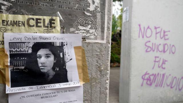Foto de Lesvy Berlín Osorio y grafiti afirmando que su muerte no fue un suicidio