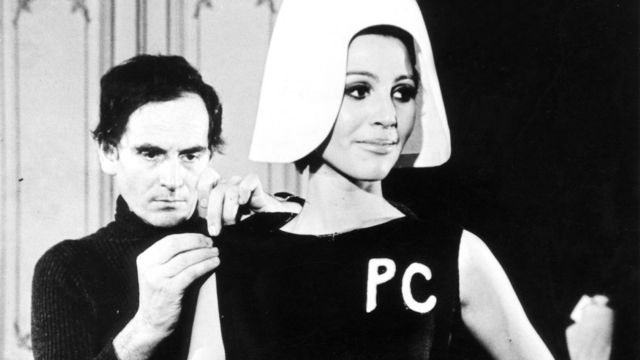 Pierre Cardin with a model in the 1960s