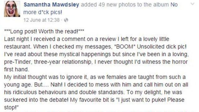 """La joven advertía en Facebook que se trataba de una publicación larga pero que """"merecía la pena su lectura""""."""
