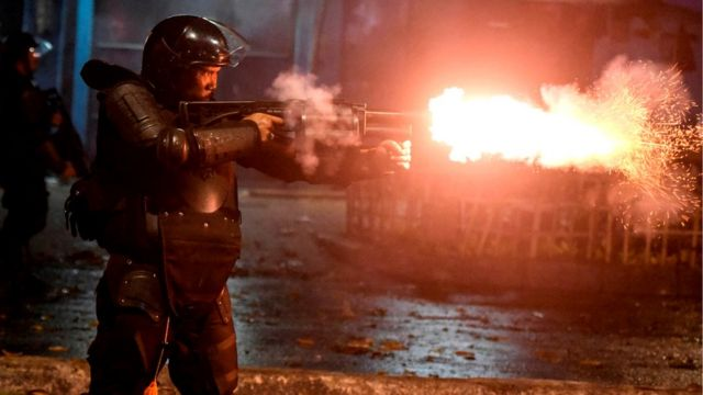 Police fire tear gas at protesters in Tanah Abang, Jakarta, Indonesia, early May 22, 2019