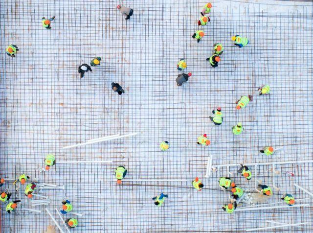 Foto aérea do canteiro de obras do Hospital Huoshenshan