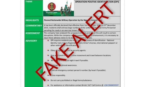 Nigeria Army disowns fake report about Operation Positive Identification