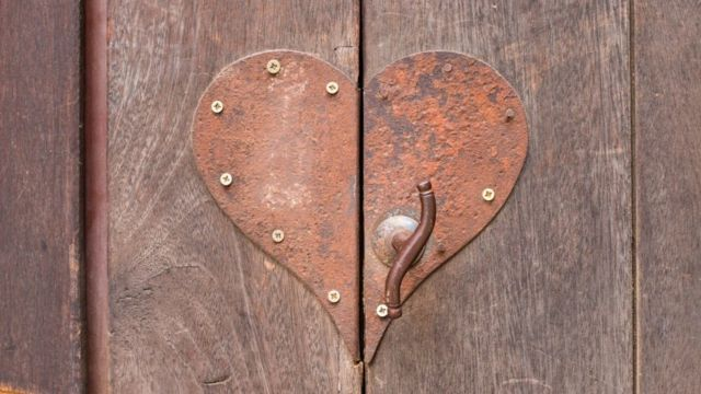 A heart-shaped padlock
