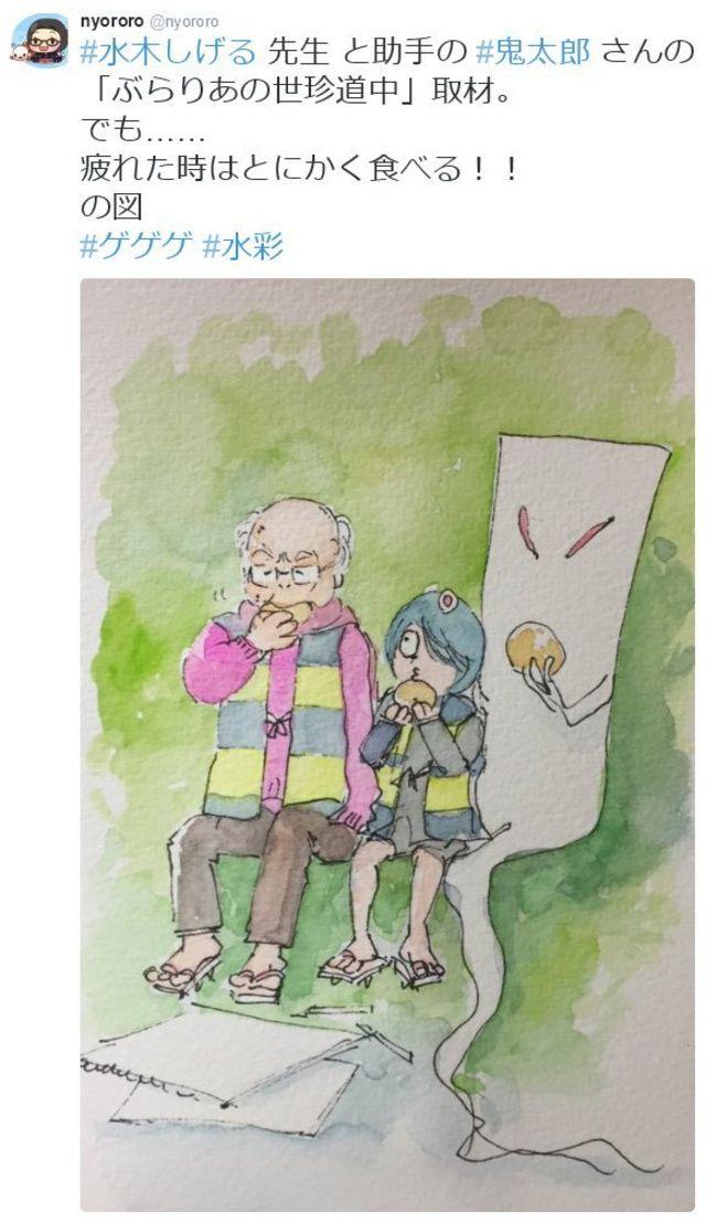 Nyororoさんがツイートした追悼のイラスト