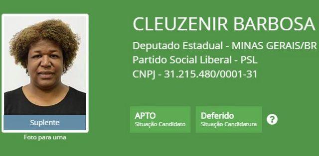 Reprodução da página do TSE com informações sobre a candidatura de Cleuzenir Barbosa