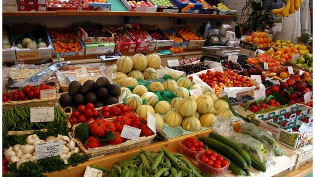 Frutas en un mercado
