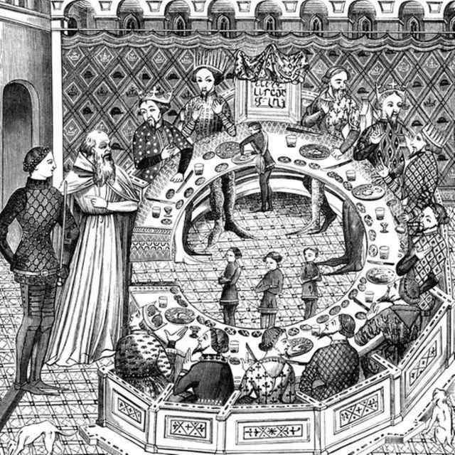 Ilustração do rei Arthur e os cavaleiros da mesa redonda