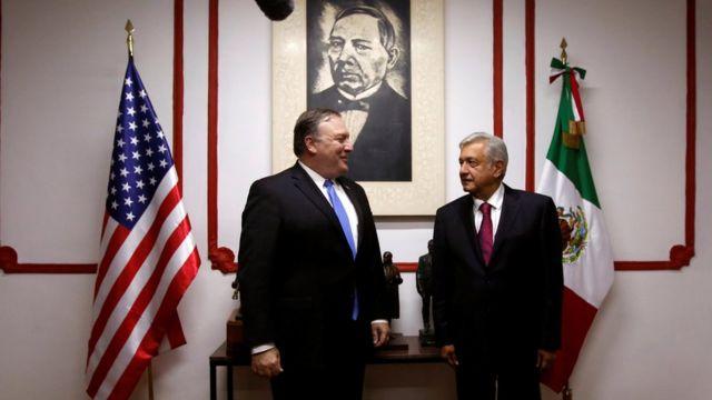 Mike Pompeo con Andrés Manuel López Obrador