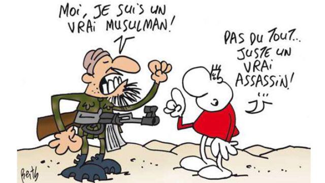 「Mon Quotidien」紙に掲載された漫画。銃を持った男性が「我こそは真のムスリムだ!」と宣言すると、右の人は「全然違う……ただの真の人殺しですよ」と反論する。