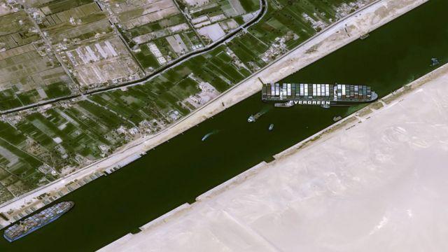 O Ever Given, que tem 400 metros de comprimento (quase quatro campos de futebol), ficou atravessado diagonalmente dentro do canal que não tem mais de 200 metros de largura, bloqueando o tráfego nas duas direções