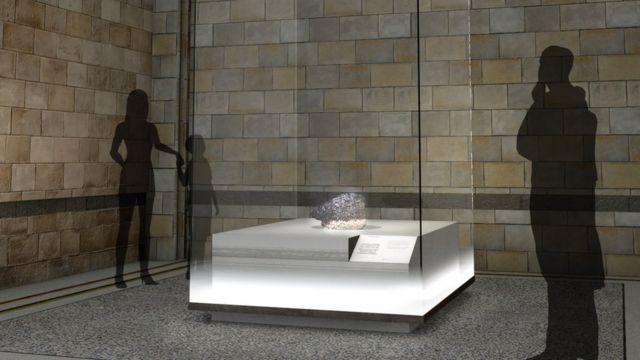 Ilustración de la exhibición donde se mostrará el meteorito