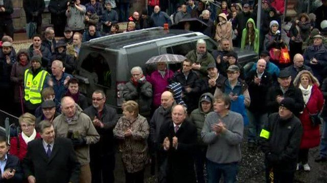 Hundreds of people have attended a rally in Ballymena, County Antrim, calling for investment to bring new jobs to the town.