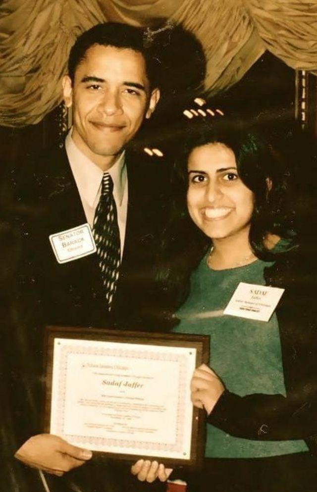 صدف جعفر کی سولہ سال کی عمر میں بارک اوباما کے ساتھ تصویر
