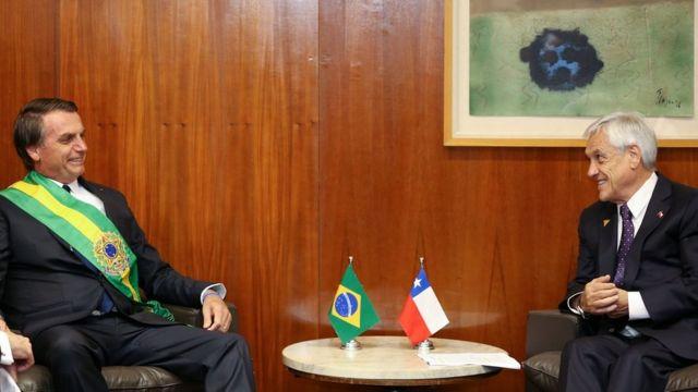 Bolsonaro e Piñera em Brasília