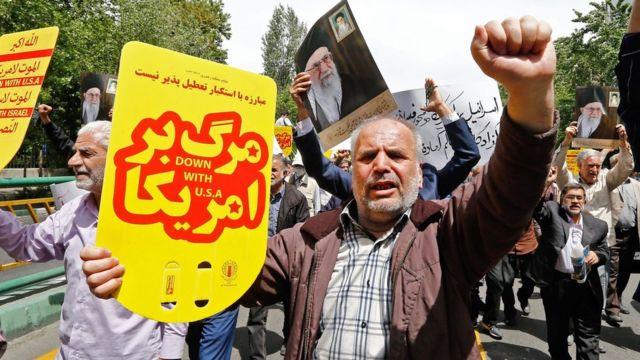 Protesto no Irã contra Trump