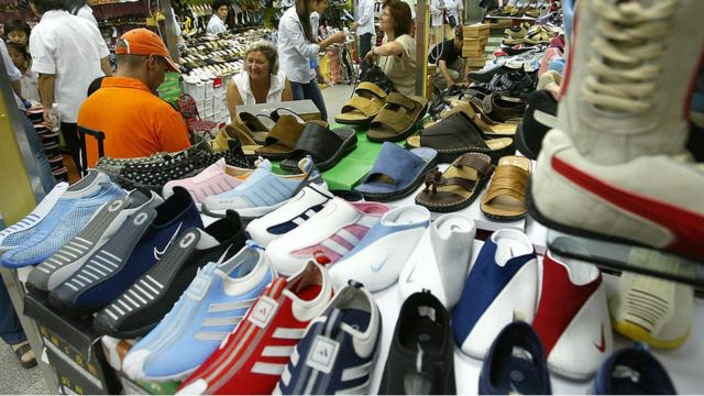 Fake trainers on sale in China (file image)