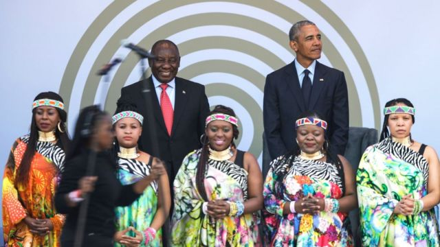 Obama avec le président sud africain Cyril Ramaphosa