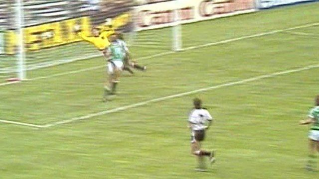 Billy Hamilton scores his opening goal for Northern Ireland against Austria at the World Cup Finals in 1982