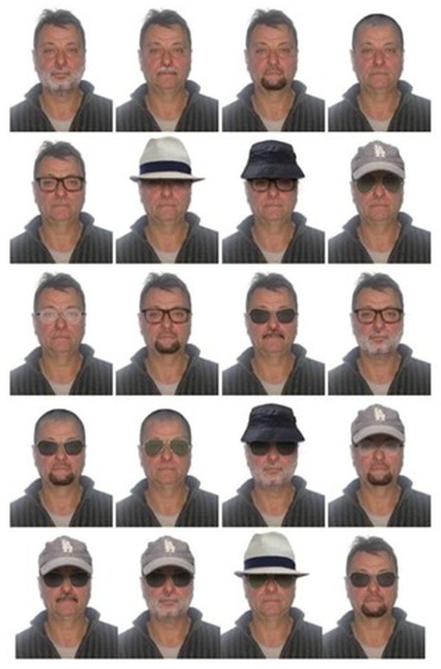 A combo picture with 20 individual pictures of Battisti wearing various hats and sunglasses