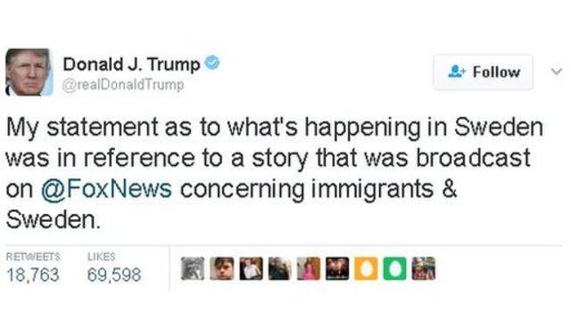 تغريدة الرئيس الأمريكي دونالد ترامب حول السويد