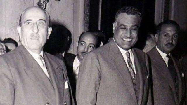 Shukri El-Kuwatly y Gamal Nasser.