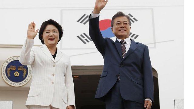 2018년 5월 21일 (현지시각) 미국 워싱턴에 도착한 문재인 대통령과 김정숙 여사