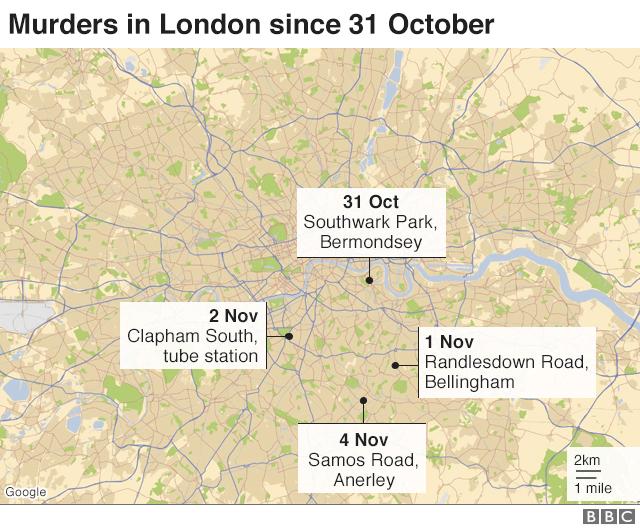 Map: Murders in London since 31 Oct