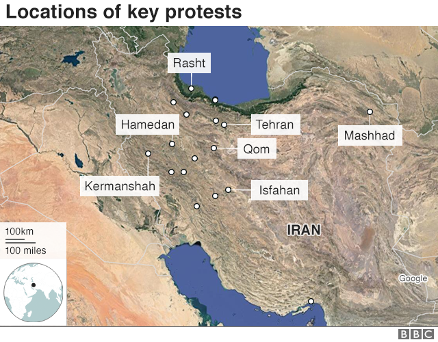 Map showing cities in Iran where protests have occurred