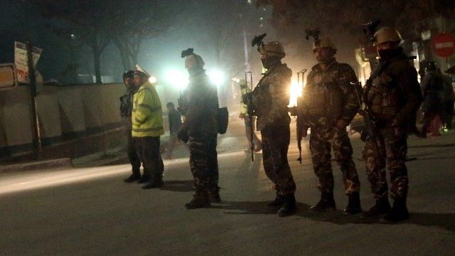 Security forces at scene of attack in Kabul