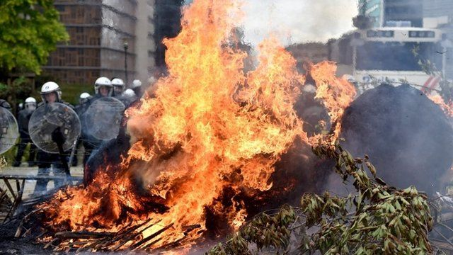 Hay set alight in protest