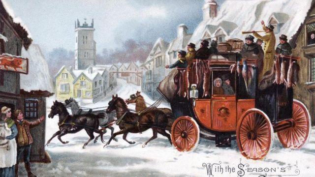 بطاقة خاصة بعيد الميلاد تعود إلى عام 1880 وعليها صورة قرية كستها الثلوج