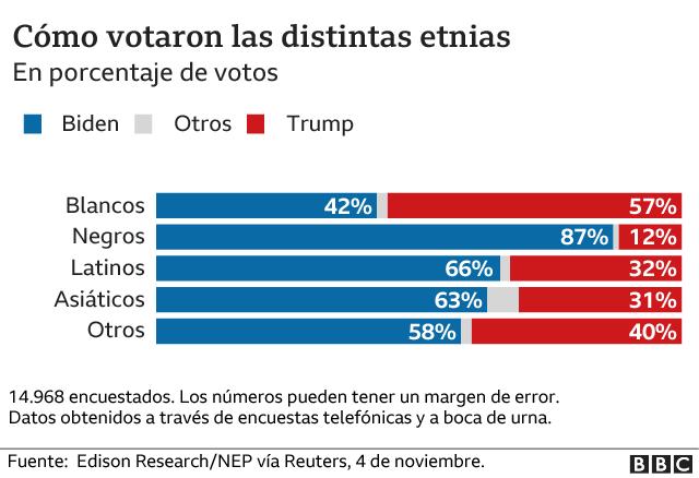 Porcentaje de voto por etnia