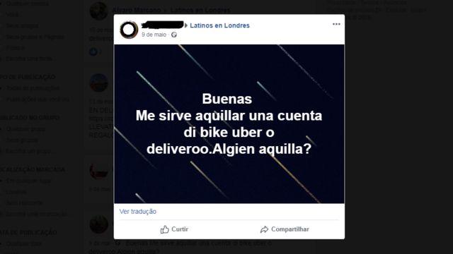 anúncio no Facebook de pessoa querendo alugar